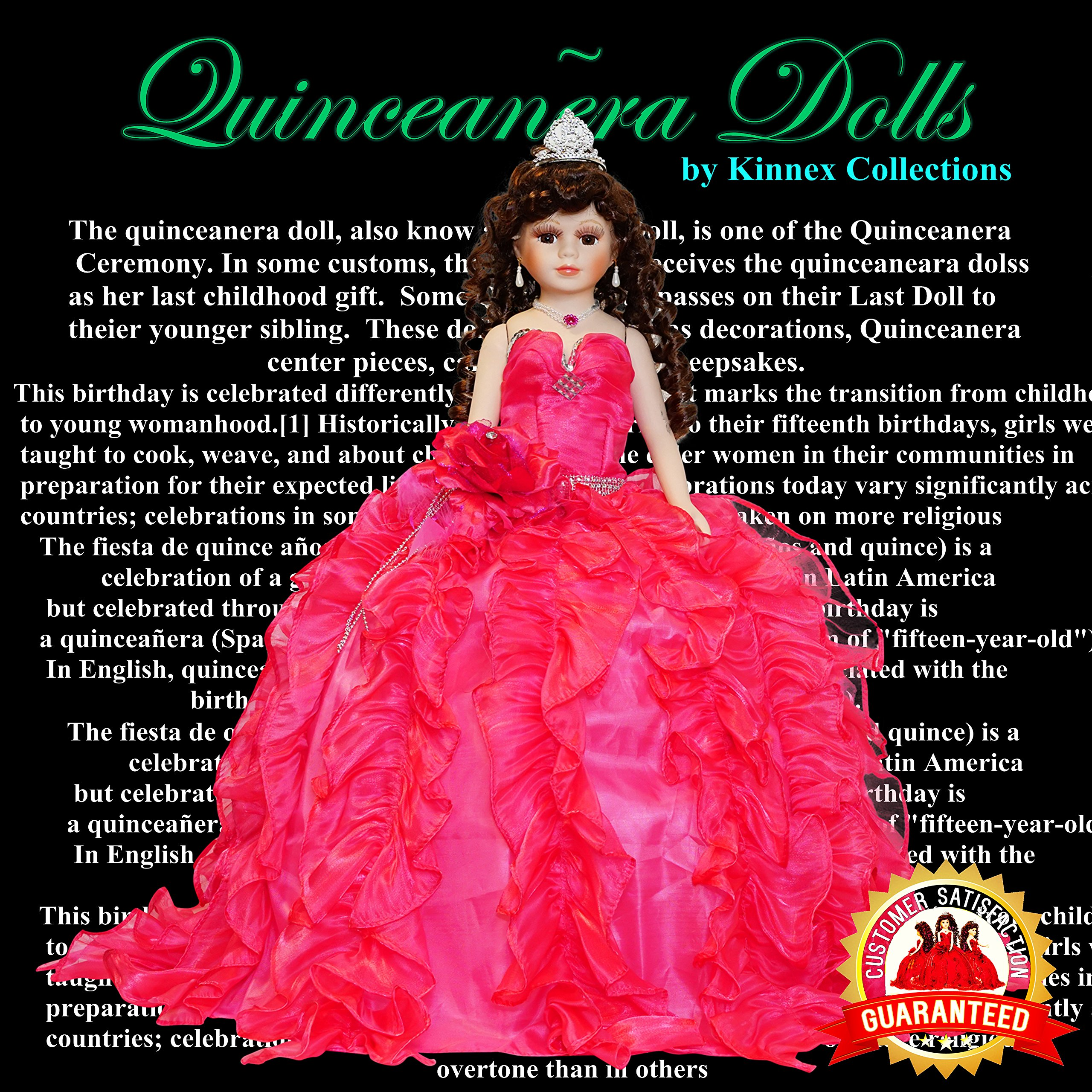 Kinnex Collections by Amanda 24'' Porcelain Quinceanera Umbrella Doll (Quince Anos)~Fuchsia~KB24727-9