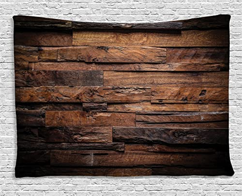 Ambesonne Chocolate Tapestry, Rough Dark Timber Texture Image Rustic Country Theme Hardwood Carpentry, Wide Wall Hanging for Bedroom Living Room Dorm, 80 X 60 , Dark Brown