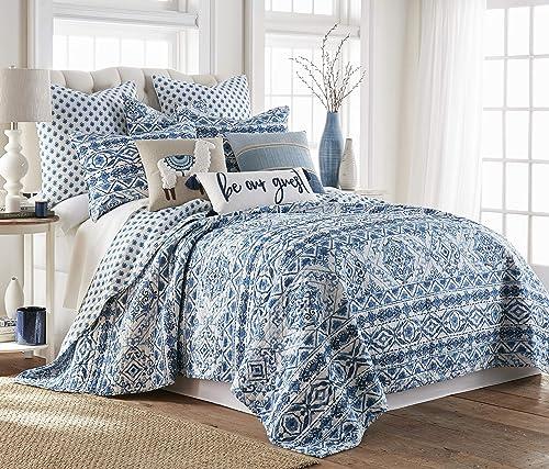 Levtex Home Lillian King Quilt Set, Medalion, Reversible, 100 Cotton, Blue
