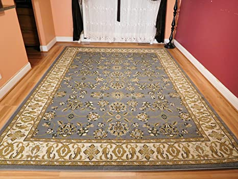 Persian Greish Blue Rugs All Over Tabriz Design 5 By 7 Traditional Area Rugs  5x8 Blue