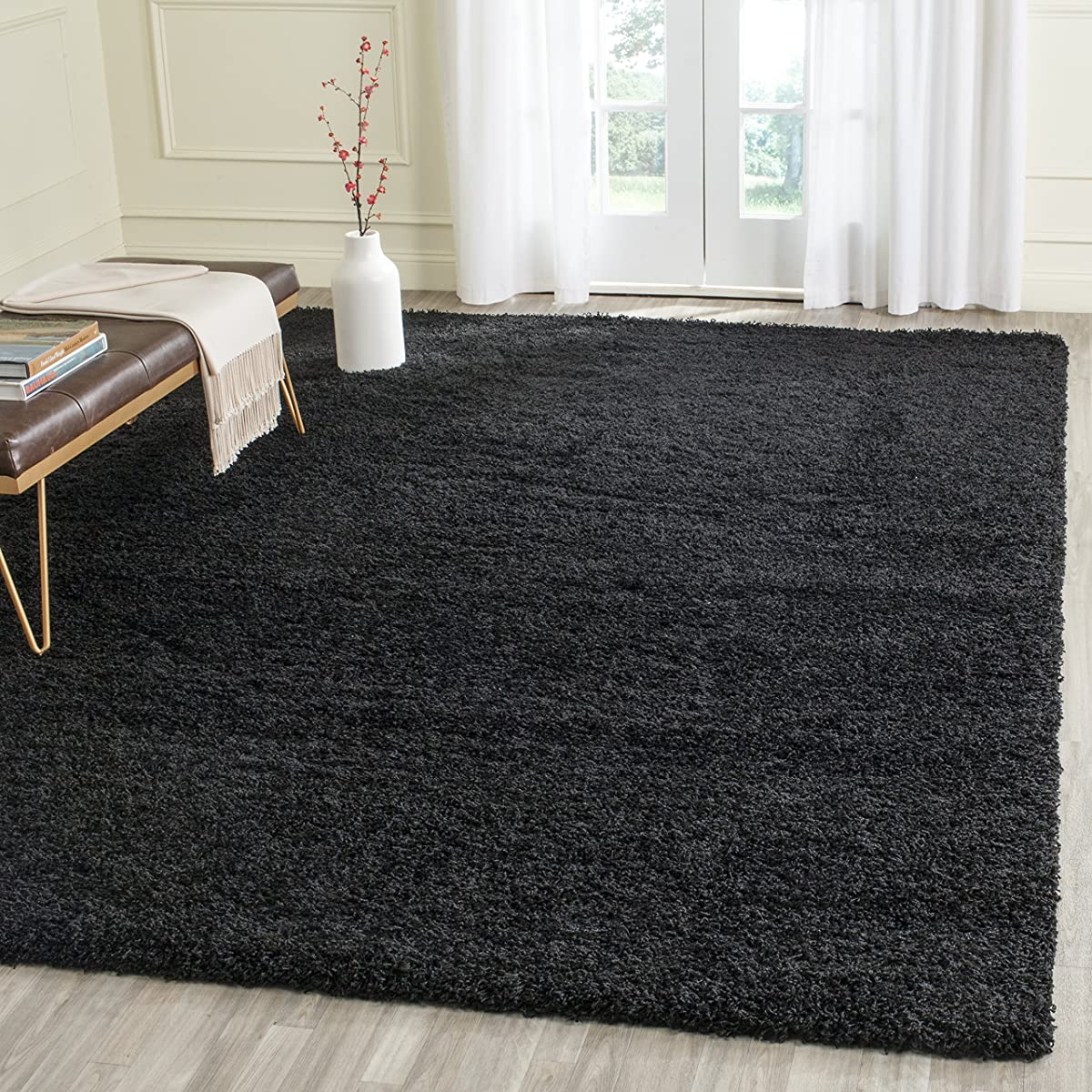 "Safavieh Laguna Shag Collection SGL303L Black Square Area Rug (67"" Square)"
