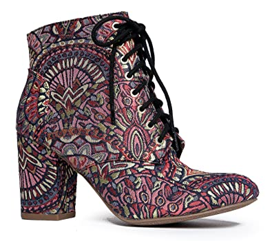 Lace Up Multicolor Embroidered High Heel Ankle Bootie – Ezra