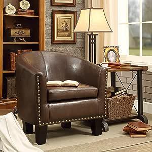 Rosevera Duilio Barrel Club Chair, Chocolate Brown