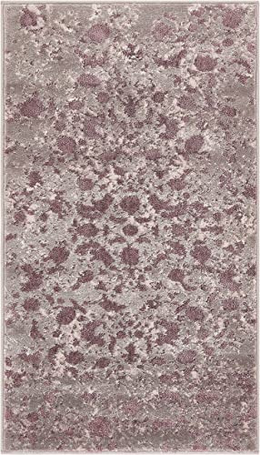 Well Woven Rondo Lavender Microfiber High-Low Pile Vintage Abstract Erased 2×4 2'3″ x 3'11″ Area Rug Modern Floral All Over Oriental Carpet