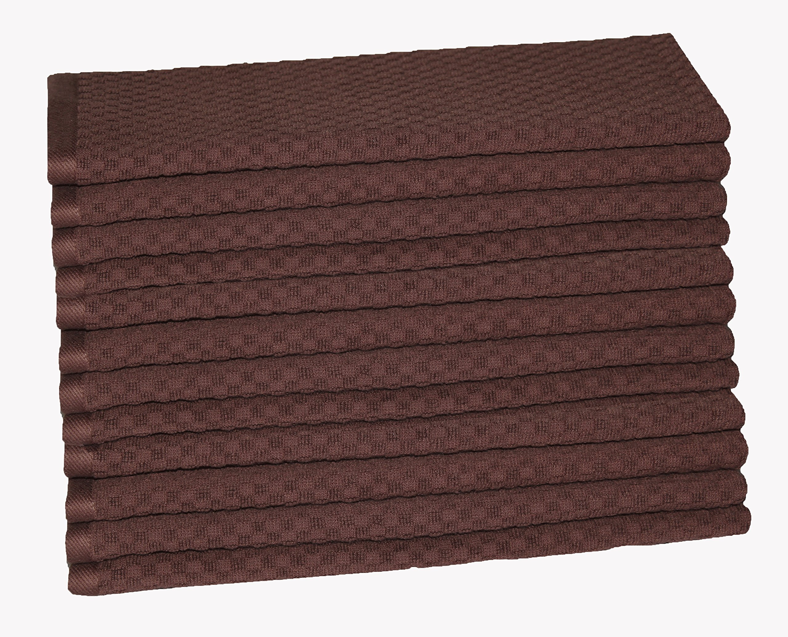 Cotton Craft - 12 Pack - Euro Cafe Waffle Weave Terry Kitchen Towels - 16x28 Inches - Chocolate - 400 GSM quality - 100% Ringspun 2 Ply Cotton - Highly Absorbent Low Lint - Multi Purpose