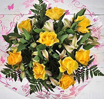 Fresh Flowers Delivered Bright Yellow Premium Rose And Alstroemeria Flower Bouquet Free Next Day Delivery Within 1hr Window 7 Days A Week Bright