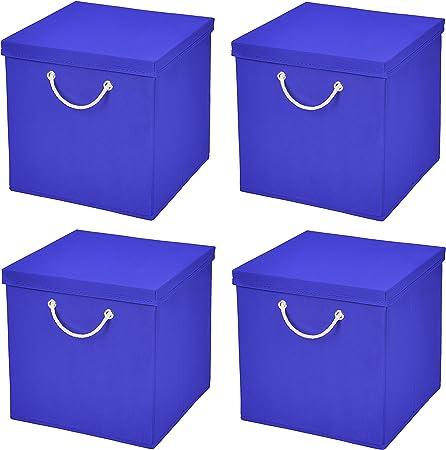 Caja de almacenaje, 30 x 30 x 30 cm, con tapa, azul, 4 unidades: Amazon.es: Hogar