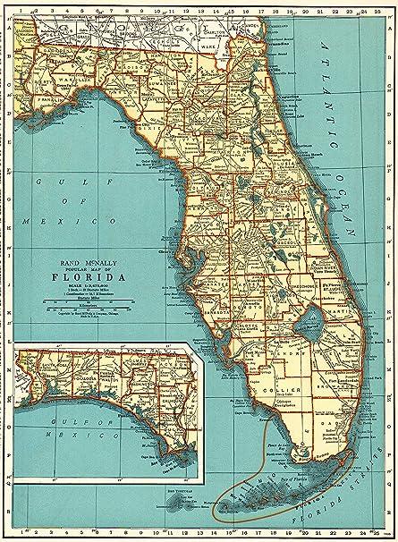Printable Map Of Florida State.Amazon Com 1937 Antique Florida State Map Original Vintage Map Of