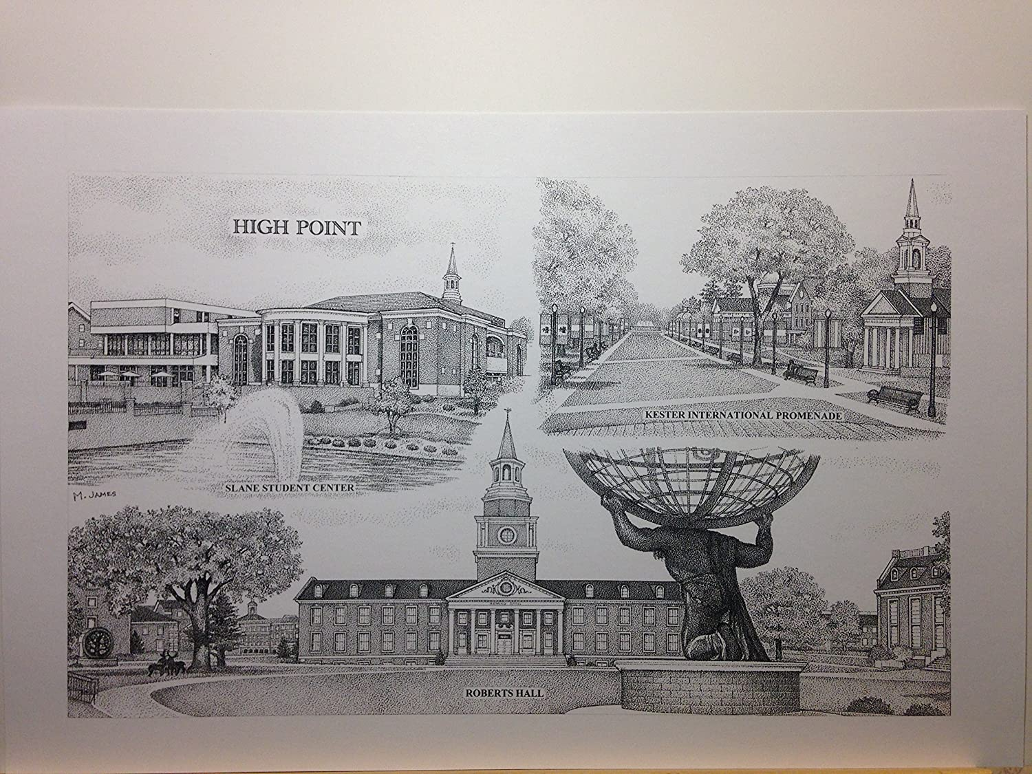 High Point University 11'x17' pen and ink collage print