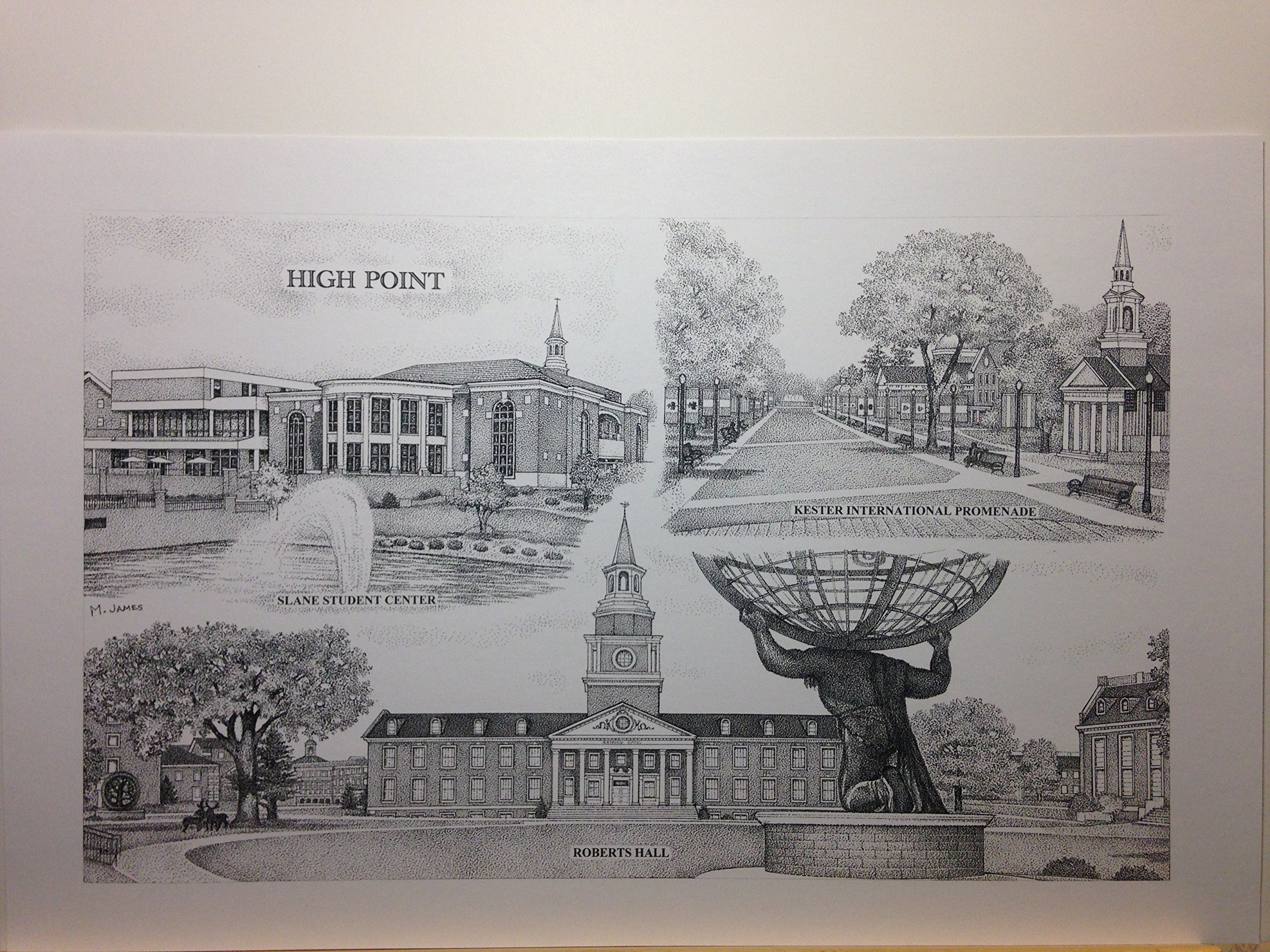 High Point University 11''x17'' pen and ink collage print