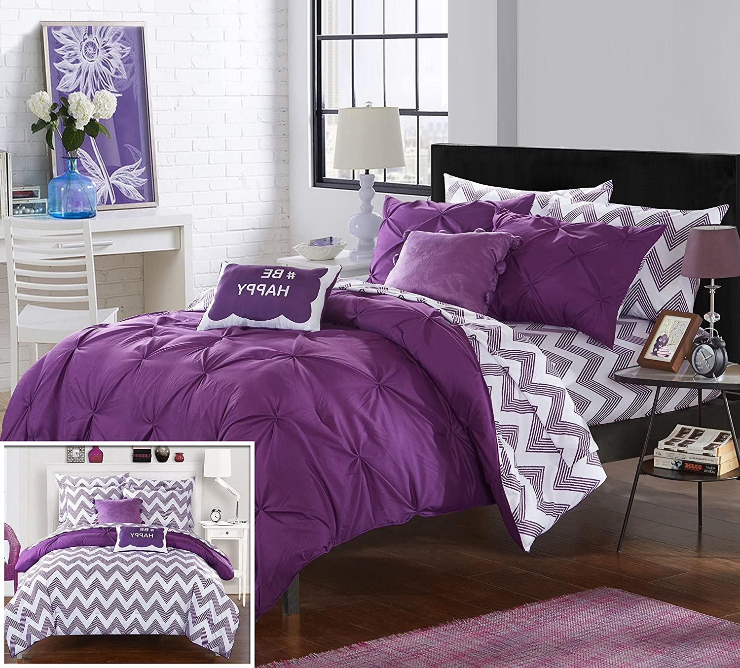 Chic Home 9 Piece Heathville Pinch Pleated Chevron Print REVERSIBLE, Full Bed In a Bag Comforter Set