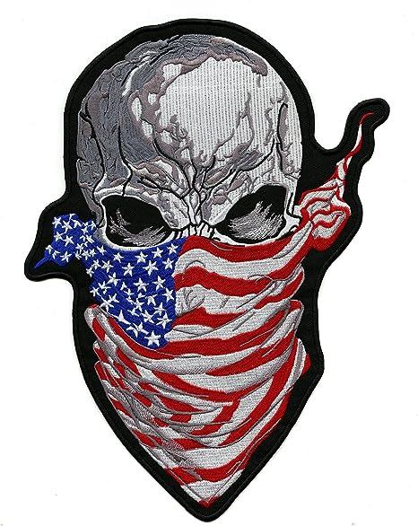 Skull American Flag Bandana Patch