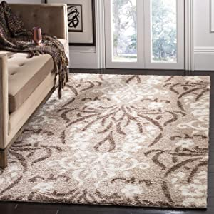 Safavieh Florida Shag Collection SG457-1311 Floral Textured 1.18-inch Thick Area Rug, 5' 3