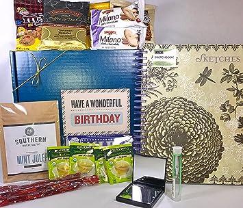 Prime Birthday Gift Box Basket Lang Sketchbook Mint Foot Soak Illuminating Tweezers Compact Mirror More
