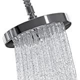 CarsonChase Adjustable Rainfall Shower Head Unit, 6 Inch Chrome Shower Nozzle for High Pressure Spa Shower, Waterfall Effect Experience, Quick/Easy installation