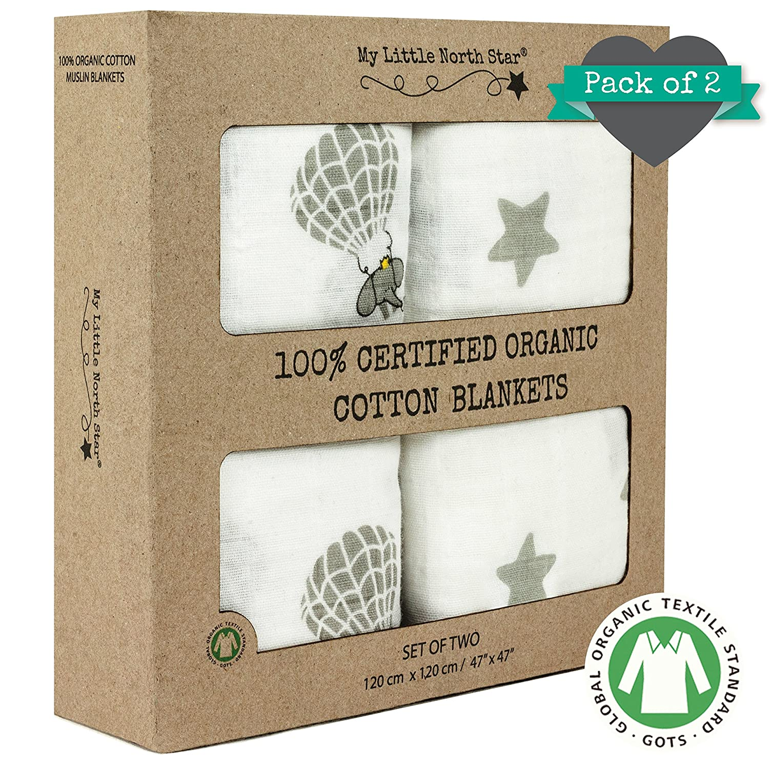 Swaddle Blankets - 100% ORGANIC COTTON - Soft and Hypoallergenic – 2 pack - Unisex My Little North Star