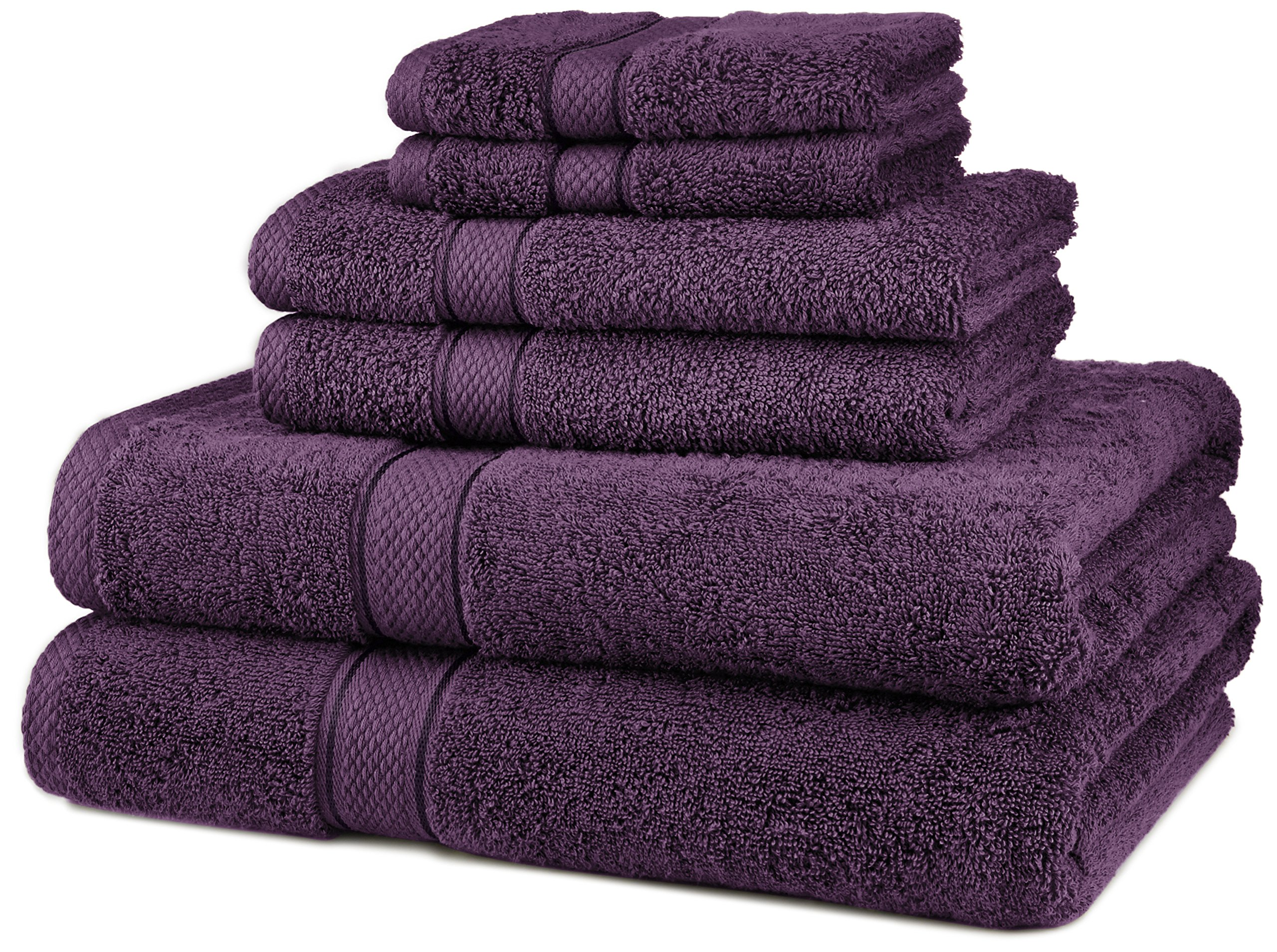 Pinzon Blended Egyptian Cotton 6-Piece Towel Set, Plum