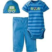 Gerber Baby-Boys Newborn 3 Piece Bodysuit Cap and Pant Set, Car, 6-9 Months