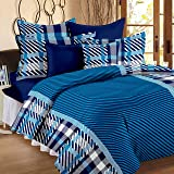 Story@Home Magic 152 TC Cotton Double Bedsheet with 2 Pillow Covers - Striped, Blue
