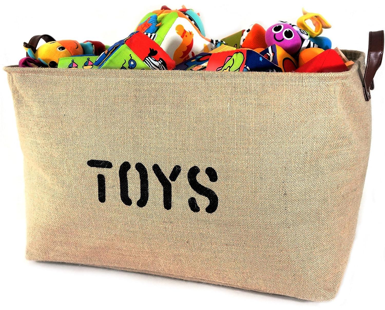 "OrganizerLogic Burlap Storage Organizer Basket - Heavy Duty Storage Basket - Perfect Storage Jute Basket for Laundry, Shoes and Kids Toys Storage bin - Storage Baskets Measure 22"" x 15"" x 14"" X Large"
