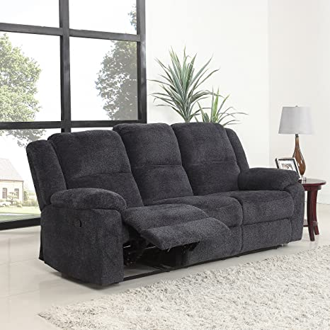 Magnificent Divano Roma Furniture Traditional Classic Living Room Microfiber Double Recliner Sofa Dark Grey Pdpeps Interior Chair Design Pdpepsorg