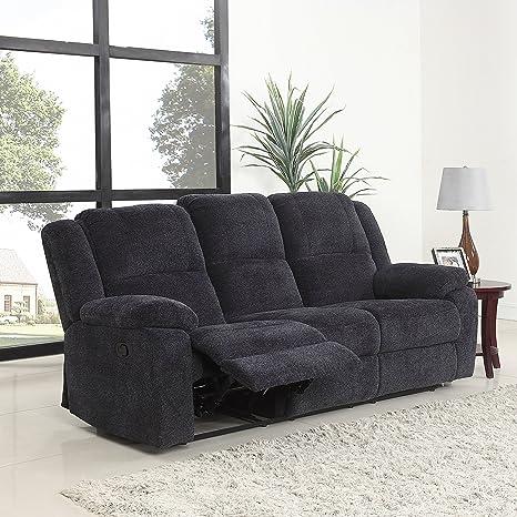 DIVANO ROMA FURNITURE Traditional Classic Living Room Microfiber Double Recliner Sofa (Dark Grey)