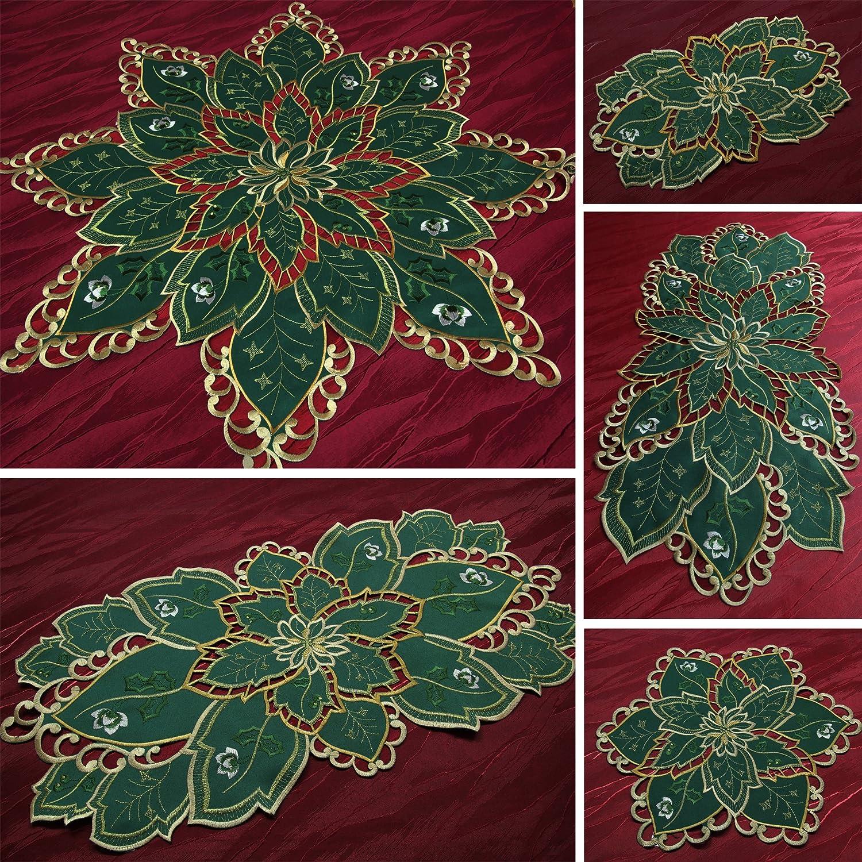 Affascinanti Inverno Runner/tavolo tovagliette verde con svolta-ricamo - dimensione selezionabile, Poliestere, 20 cm Quinnyshop