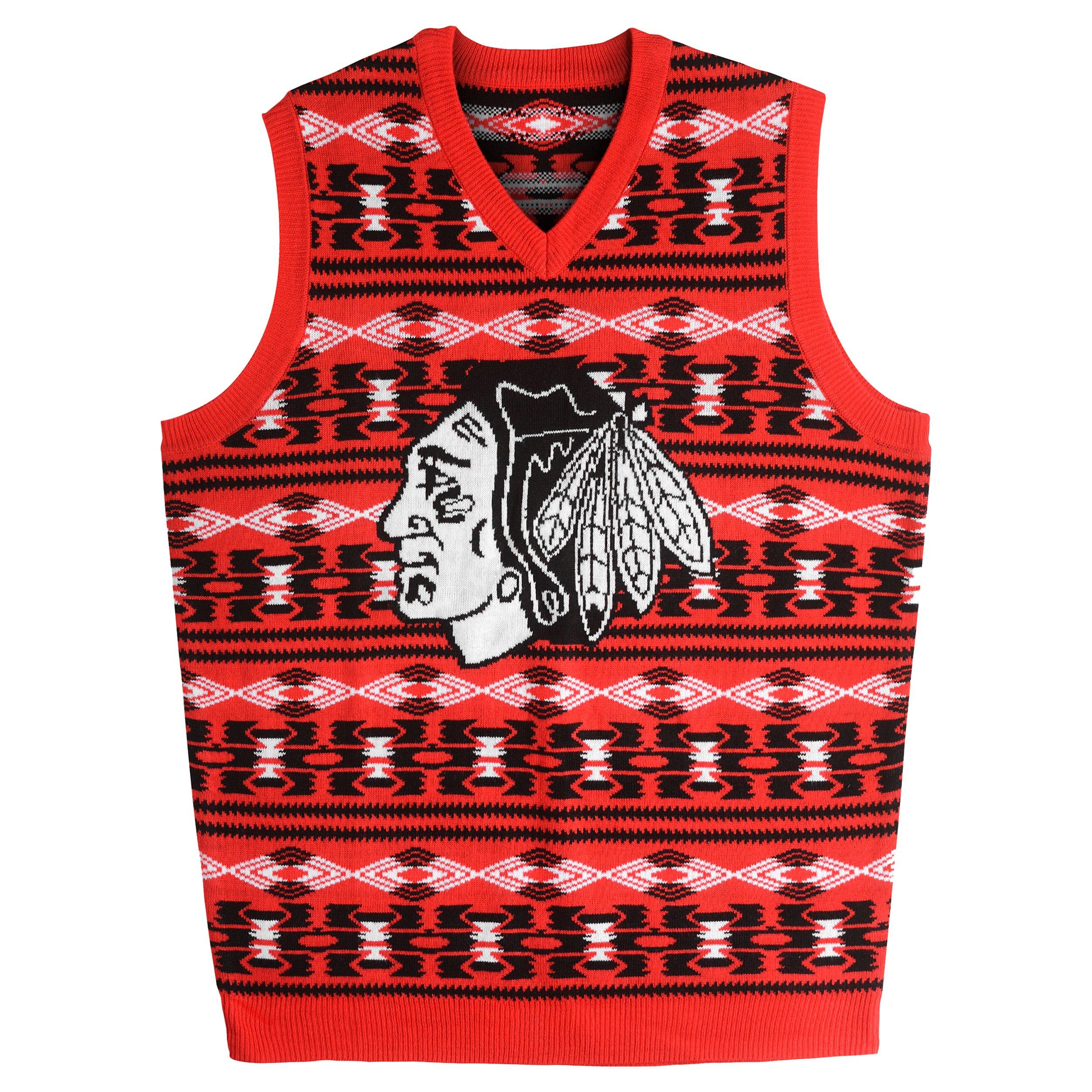 Chicago Blackhawks Aztec Print Ugly Sweater Vest Medium