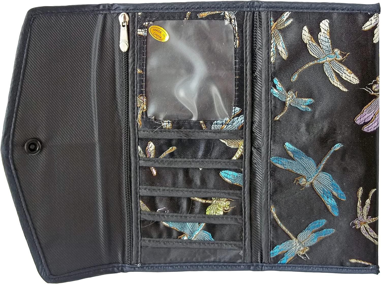 Asian Brocade Wallet Black Dragonfly Pattern Check Book Holder