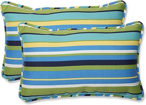 Pillow Perfect Outdoor Indoor Topanga Stripe Lagoon Lumbar Pillows, 11.5 x 18.5 , Blue, 2 Pack