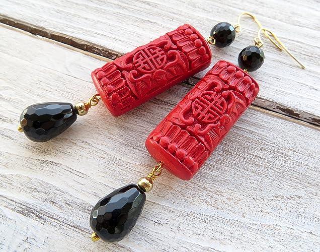 più recente 75078 e9917 Orecchini rossi e neri, pendenti in cinabro e onice nero ...
