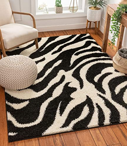 Modern Animal Print 7x10 6'7'' x 9'10'' Area Rug Shag Zebra Black Ivory Plush Easy Care Thick Soft Plush Living Room