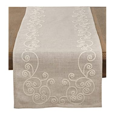 SARO LIFESTYLE Embroidered Swirl Design Linen Blend Table Runner, 16  x 72 , Natural