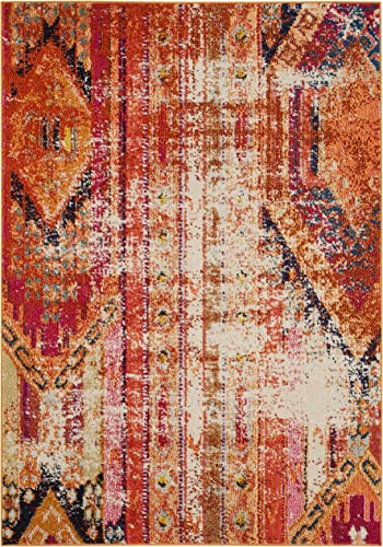 Safavieh Monaco Collection MNC222H Modern Bohemian Distressed Area Rug, 3 x 5 , Orange Multi