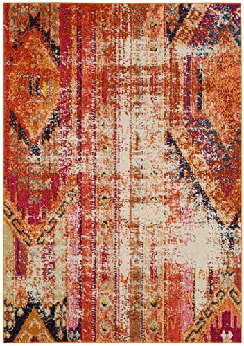 Safavieh Monaco Collection MNC222H Modern Bohemian Distressed Area Rug, 3 x 5 , Orange Multi