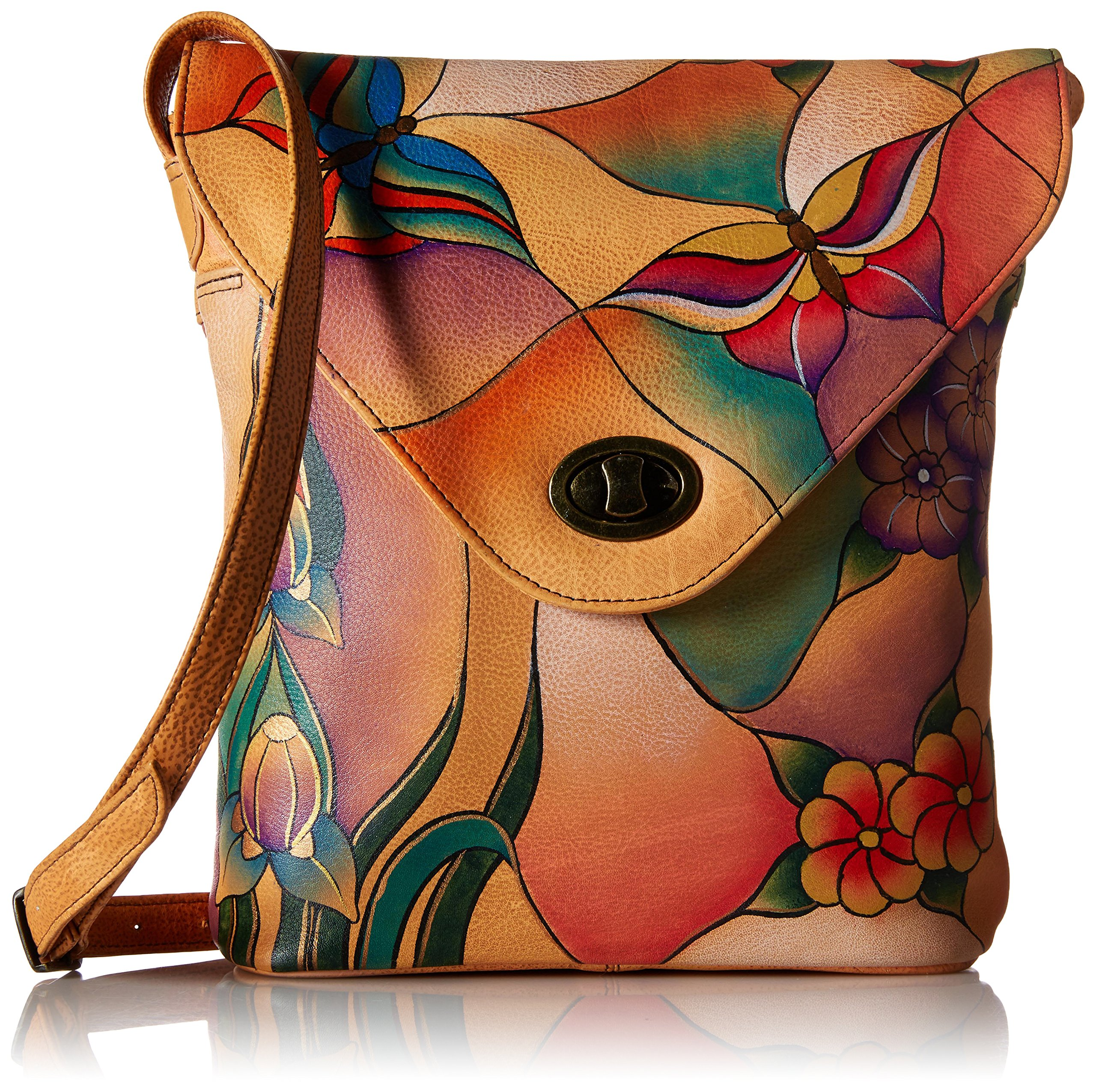 Anuschka Handpainted Leather 8059-BGP V Shape Flap Bag, Butterfly Glass Painting, One Size by Anna by Anuschka