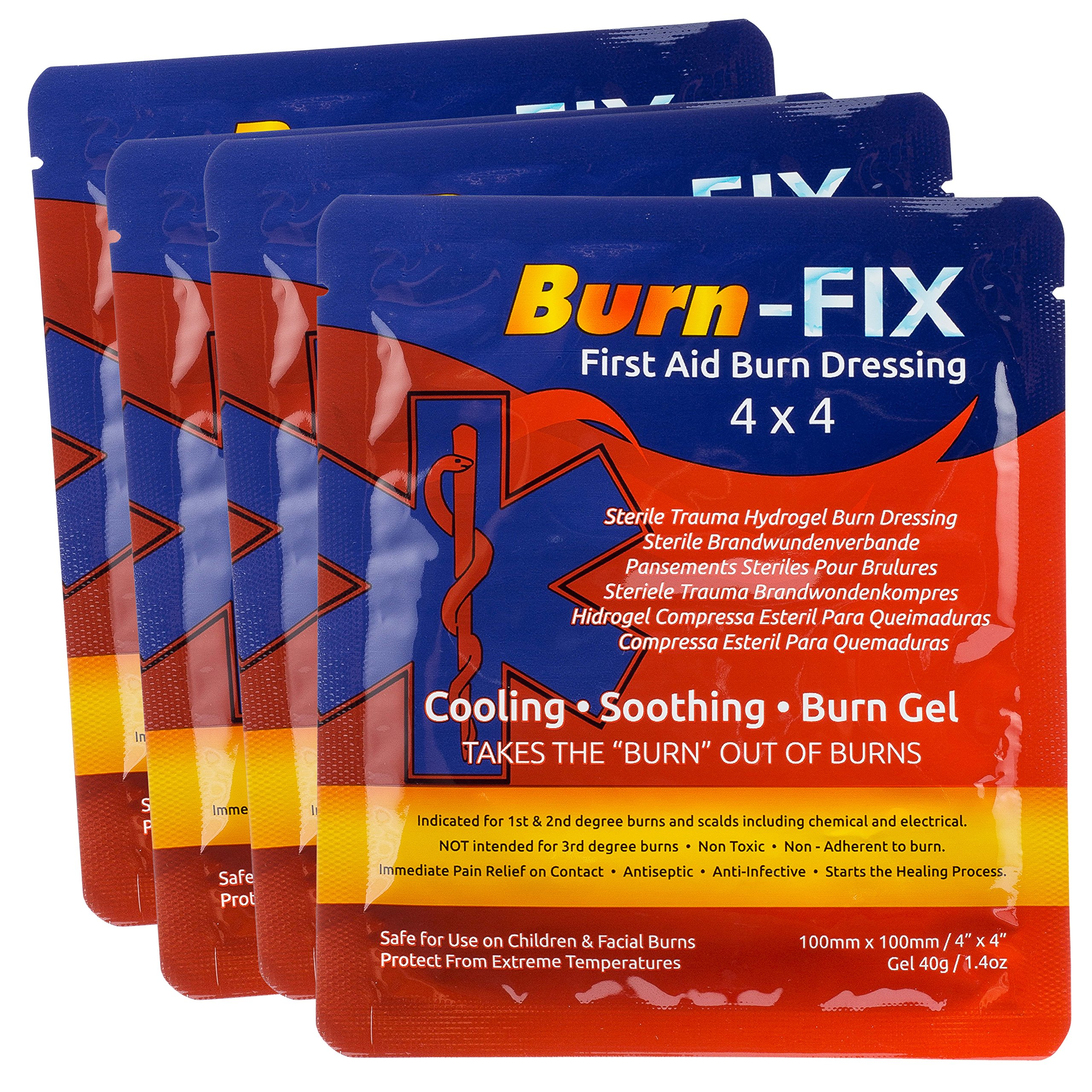 Burn-FIX- 4 Pack-Burn Gel Dressing 4'' X 4'' Burn Care-First Aid Treatment. Immediate Pain Relief Burn Cream- Hydrogel For 1st, 2nd Degree Burns, Chemical, Razor and Sunburns. For Home, Work, Fire, EMS. by Burn-FIX