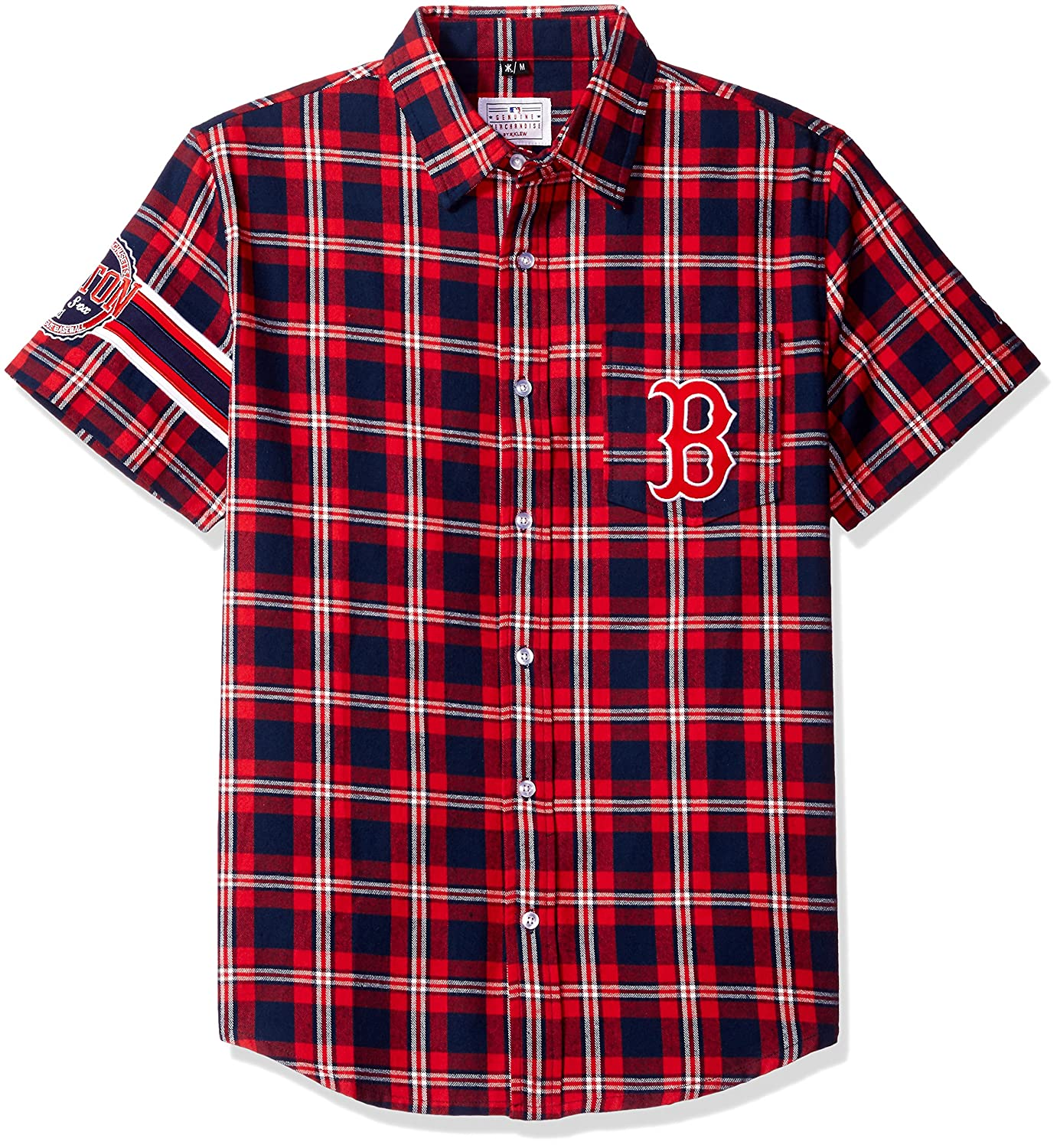 Klew MLB Boston ROT Sox Wordmark Flanell Short Sleeve knöpfbaren Shirt