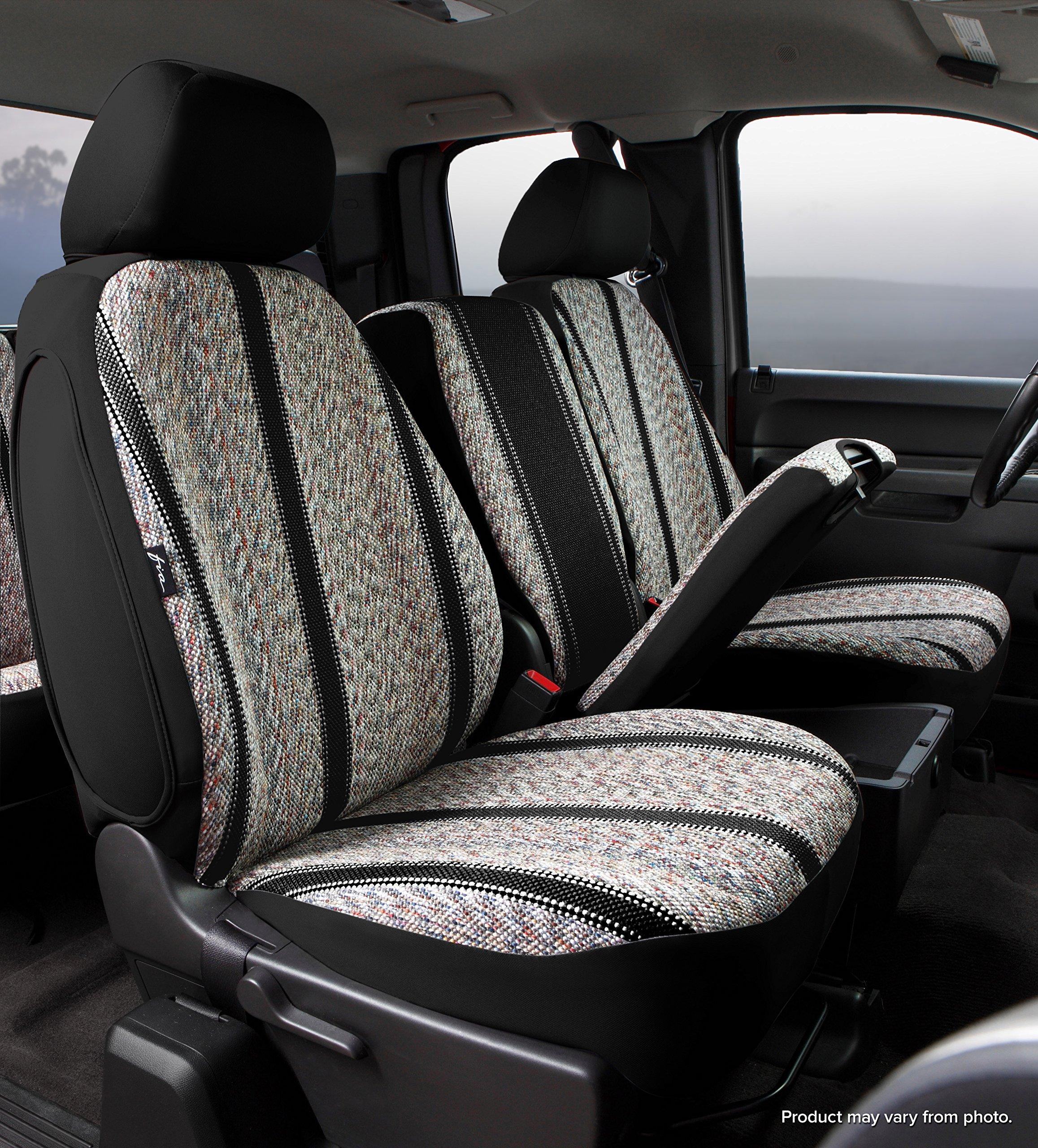 Fia TR47-35 BLACK Custom Fit Front Seat Cover Split Seat 40/20/40 - Saddle Blanket, (Black)