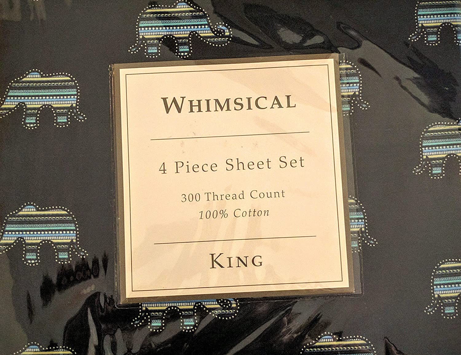 Elite Home Products Whimsical Animal Print 300 Thread Count Cotton Sheet Set