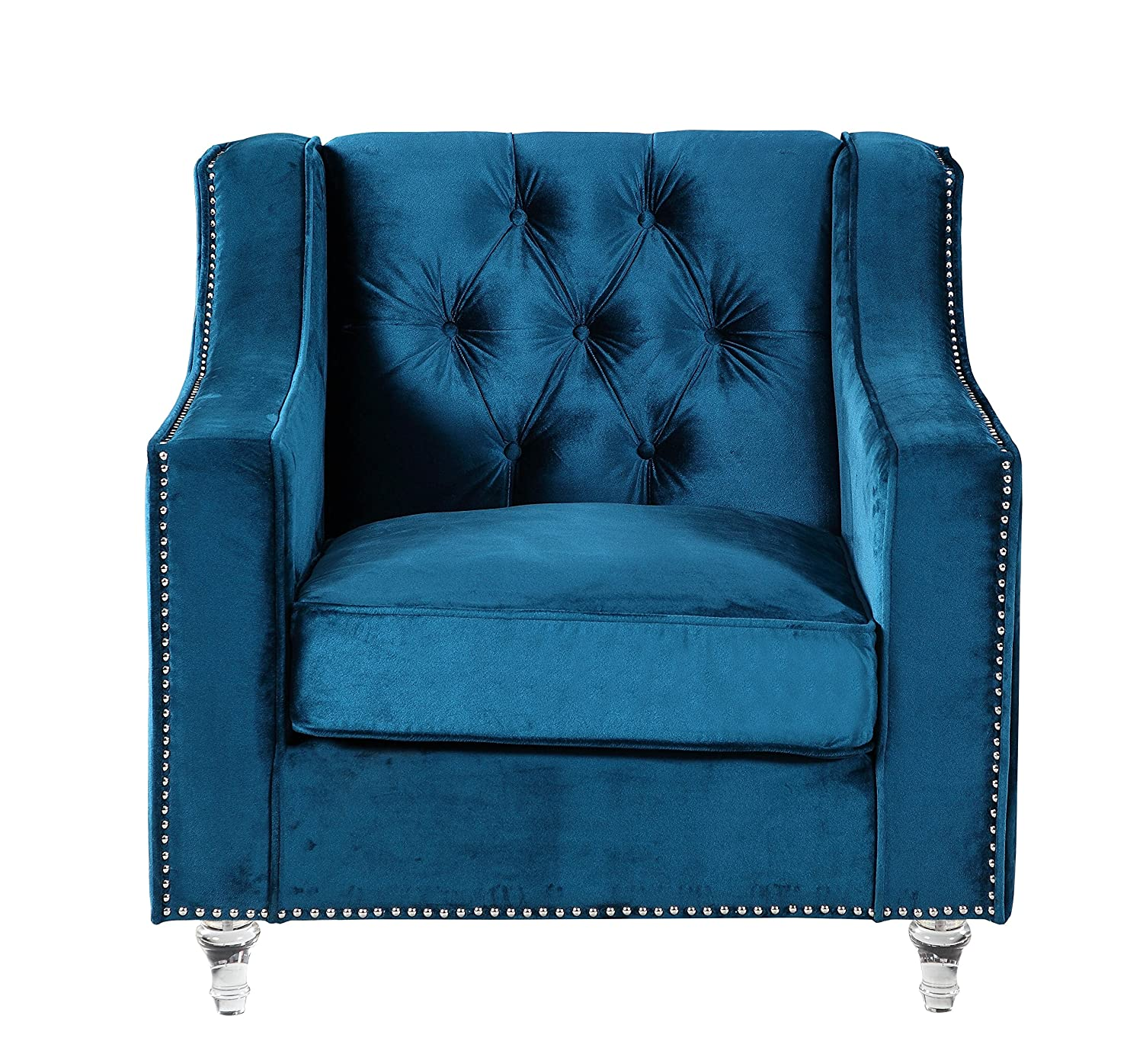 Amazon Iconic Home Dylan Modern Tufted Navy Blue Velvet Club