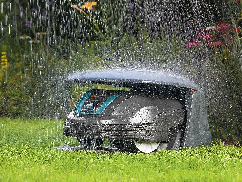 Caseta para robots cortacésped GARDENA: refugio para robot segador, protección del sol y las tormentas, tapa plegable, resistente a las inclemencias del ...