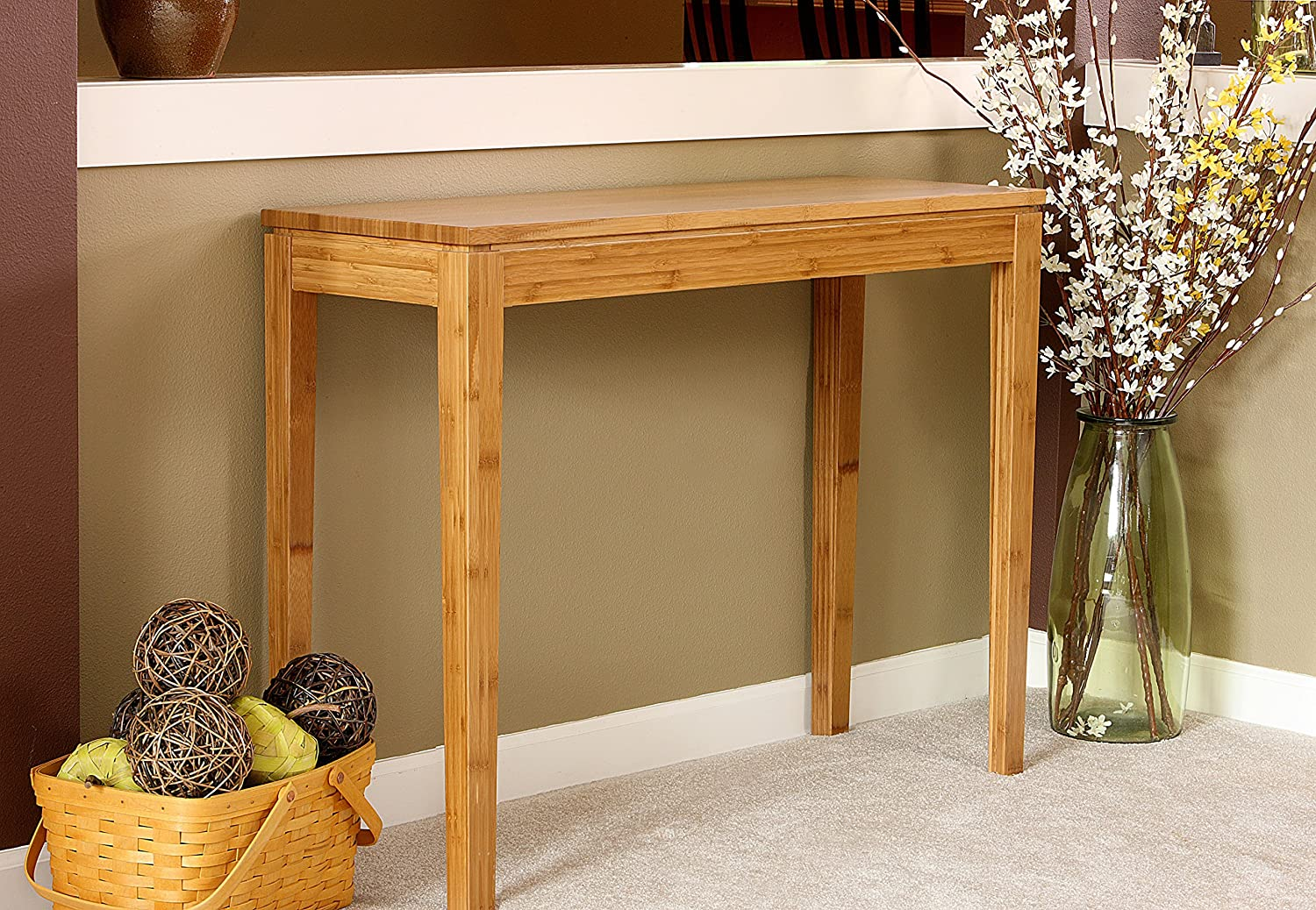 Amazon.com: Bamboogle Interiors 10 1448H Brazil Collection Modern Bamboo Console  Table In Honey Caramel Finish: Kitchen U0026 Dining