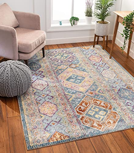 Well Woven Jardin Blue Vintage Panel Design Area Rug 8×10 7 10 x 9 10
