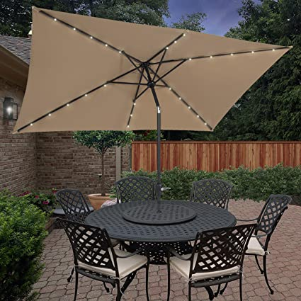 Gentil BCP 10u0027x6.2u0027 Deluxe Solar LED Lighted Rectangle Patio Umbrella W Tilt
