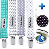 Pacifier Clip by Dodo Babies Pack of 4 PremiumQuality For Boys and Girls Modern Designs Universal Holder Leash for Pacifiers, Teething Toy or Soothie