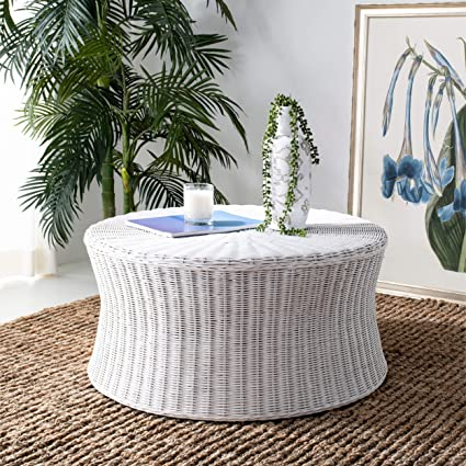 Tremendous Misc Round Wicker Ottoman White Large Rattan Coffee Table Rounded Shape Circular Footstool Indoor Living Room Furniture Strong Sturdy Beach Coastal Pabps2019 Chair Design Images Pabps2019Com