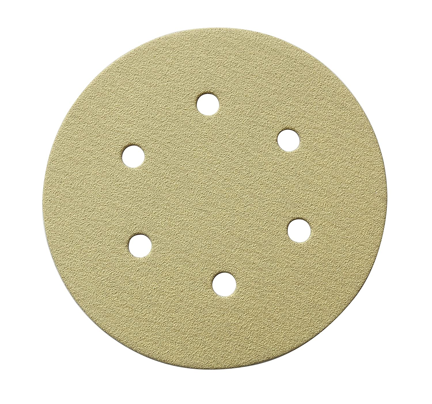 POWERTEC 45208G-50 6-Inch 6 Hole 80 Grit Hook and Loop Sanding Discs, Gold, 50-Pack