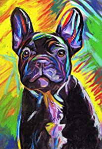 French Bulldog Art, Black Frenchie Pastel Painting, Colorful Frenchie Owner Gift, French Bulldog Decor, Dog Wall Art Print, Colorful French Bull Dog Artwork