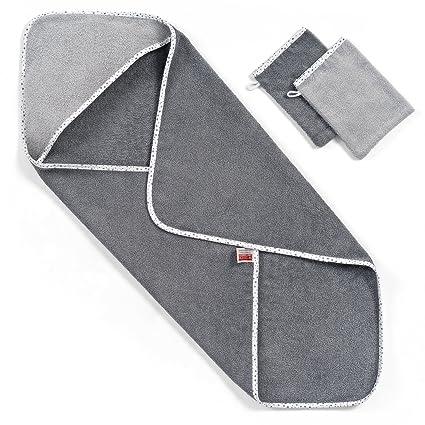 Wörner - Toalla con capucha para bebés, 80x80 cm, incluye 2 manoplas de baño